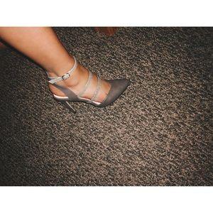 NWOT gray snake skin detail strappy closetoed heel